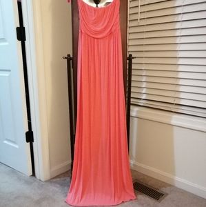 Strapless Coral Assymettric Dress